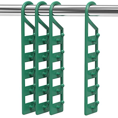 CraftyCrocodile Space Saving Hanger Holders - Vertical Closet & Wardrobe Storage Organizer - Strong Green Plastic Material - Clothes Organizing Accessories, Fits 5 Regular Hangers Each - 4-Pack, 2x10'