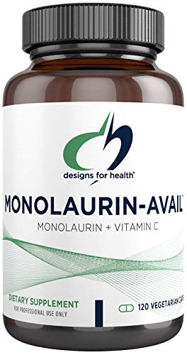Designs for Health Monolaurin-Avail - 1000mg Glycerol Monolaurate + Vitamin C with Sunflower Lecithin to Enhance Monolaurin Absorption - Non-GMO + Gluten Free Immune Support Supplement (120 Capsules)