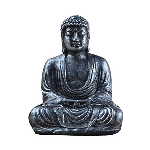 GEZICHTA Mini Buddha Statue, Zen Garden Resin Sitting Meditative Buddha Indoor Statue Ornament(Silver)