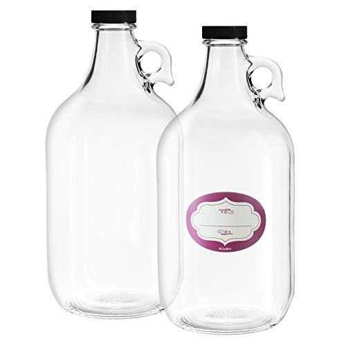 2 Pack – Half Gallon Glass Jugs – Multi Purpose – Heavy Duty – 64 Oz Clear Glass Water Bottles with Airtight Lids and Labels – Great for Kombucha, Cold Brew Coffee, Tea and More – Food Grade BPA Free