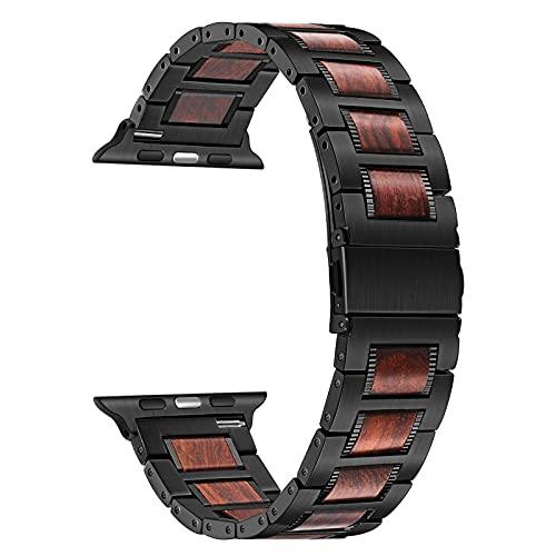 TRUMiRR Compatible con Apple Watch Serie 6/SE 40mm 38mm Correa de Madera, Correa de Reloj de Acero Inoxidable y Madera de Nogal Natural Correa de Repuesto para iWatch Apple Watch SE Serie 6 5 4 3 2 1