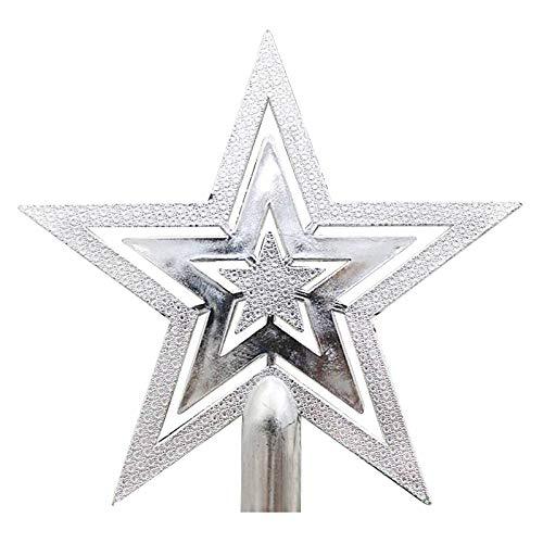 PRETYZOOM 10cm Weihnachtsbaum Topper Sterne Frohe Weihnachten Baumkrone Stern Festival Dekoration (Silber)
