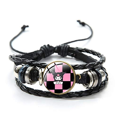 RelianceUK New Kuromi Beads Charm Bracelets for Women Glass Dome Multilayer Black Leather Bangles Cool Cute Girl Jewelry Gifts