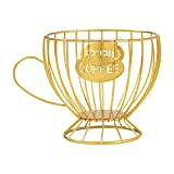 Porta cialde da caffè, in metallo, universale, multiuso, a forma di tazza, caffè, caffè, caffè, bancone e capsule, bar, snack e cucina (oro)