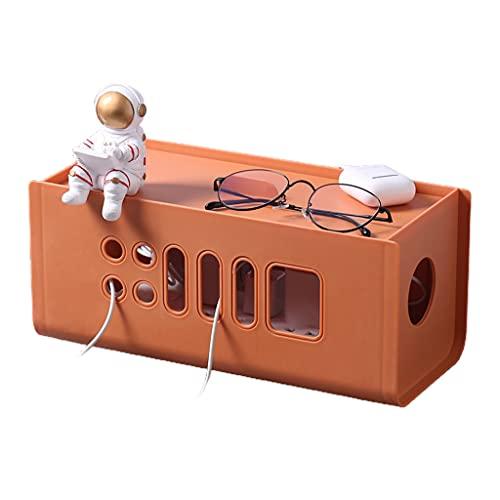 DROHOO Caja de Almacenamiento de gestión de Cables con Tapa, Organizador de Cables de Toma de Corriente de plástico Hueco, Naranja