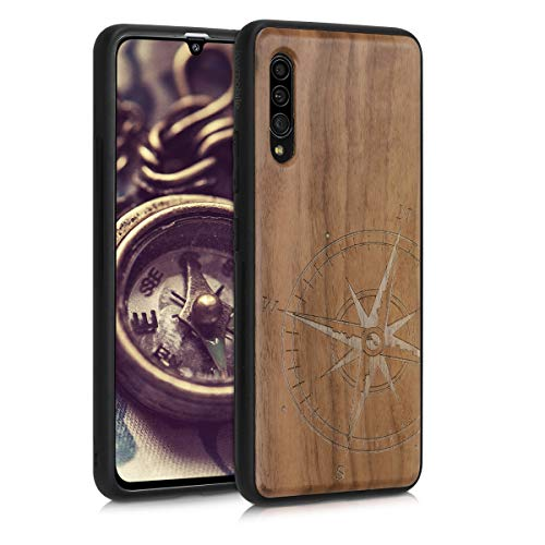 kwmobile Hülle kompatibel mit Samsung Galaxy A90 (5G) - Handyhülle Holz TPU Cover - Kompass Vintage Dunkelbraun