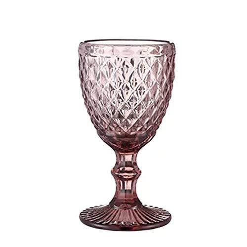 N\A Copas de Vino 1 unids Alivio Copas de Vino Taza de Beber Retro Diamante Champagne Jugo de Cristal Bebida Copa Boda Banquete Vino Copa de Vino 240ml 8oz (Capacity : 300ml, Color : Diamond Purple)
