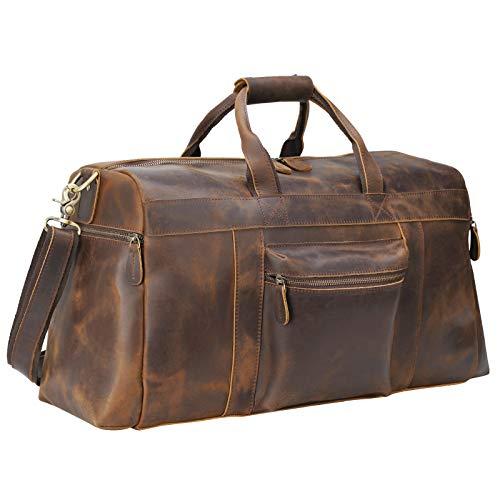 Polare 20'' Full Grain Cowhide Leather Weekender Duffle Bag Overnight Luggage Travel Duffel Bag For Men