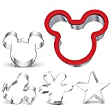 Mickey Mouse Cookie Cutters Set for Children - Mickey Mouse Head, Ears, Side Surface, Palm Tree, Stainless Steel Biscuit Fondant Baking Moulds for Birthday Party, Pack of 5