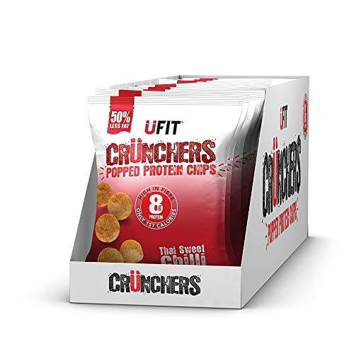 UFIT Crunchers Popped Chips, High Protein Healthy Crisps - Thai Sweet Chilli Flavour (Box of 11 x 35g)