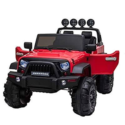 TOBBI 12V Kids Ride On Cars Truck with Remote Control 3 Speeds Toddler Motorized Vehicles Toys for Girls Boys (Red) by TOBBI