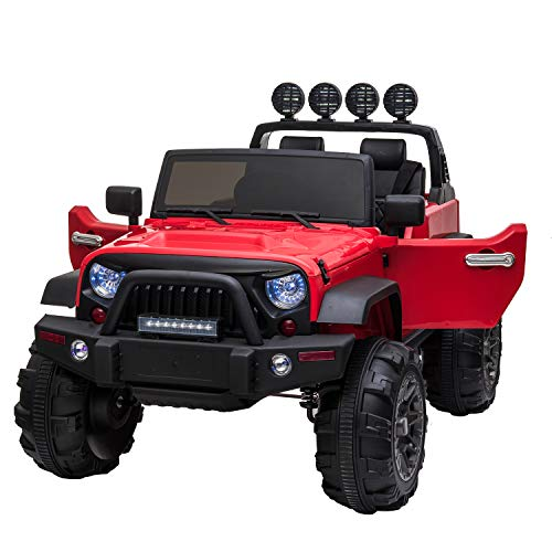TOBBI 12V Kids Ride On Cars Truck with Remote Control 3 Speeds Toddler Motorized Vehicles Toys for Girls Boys (Red)