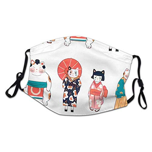 Various Cats Dressed in Traditional Japanese Clothes Children Dust Mask Adjustable Half Face Cover Balaclava Bandanas for Outdoor