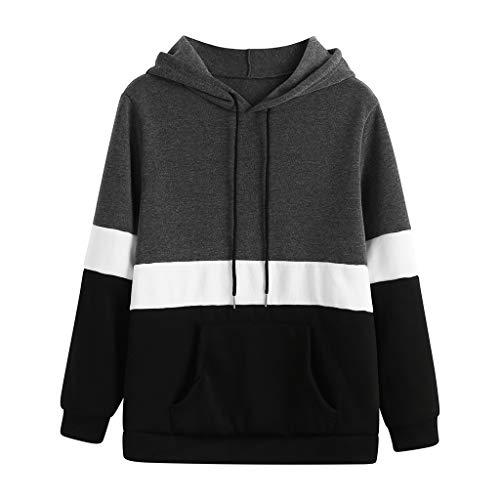 GreatestPAK Kontrast Hoodie Damen Freizeit Sweatshirt Langarm Kapuzenpullover T-Shirt,Grau,XL (Büste:116cm)