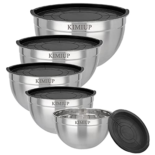 Stainless Steel Mixing Bowls, Set of 5 Mixing Bowl with Lids Set, 5.3, 4.5, 3.5, 2.5, 2QT Deeper and Stackable Metal Nesting Bowls Versatile For Cooking, Baking, & Food Storage