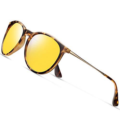 Night Driving Glasses Hd Vision Anti Glare Polarized Men Women Round Aviator Yellow Galsses Safety Nighttime UV Protection