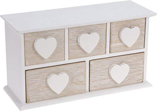 Pequeño joyero de madera con 5 cajones, corazón de madera blanco, caja de almacenamiento