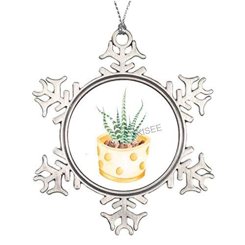DKISEE Handgezeichnete Haworthia Attenuata Zebra-Pflanze Metall Schneeflocke Weihnachtsdekoration, Weihnachtsbaum-Dekoration, Feiertagsdekoration, Hänge-Ornament Andenken, 7,6 cm, SDS429
