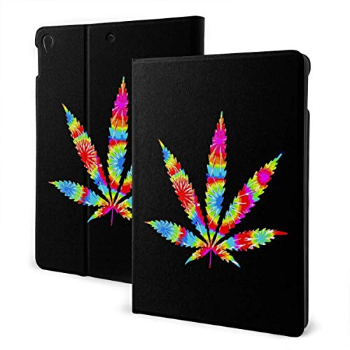 Case for iPad Tie Dye Weed Marijuana PU Leather Business Folio Shell Cover with Stand Pocket and Auto Wake/Sleep for iPad Air 10.5'