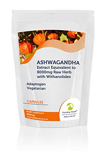 Ashwagandha Concentrated Extract 400mg Equivalent to 8000mg Raw Herb Withanolides Veg Capsules - UK - Pack of 60 Pills Pills