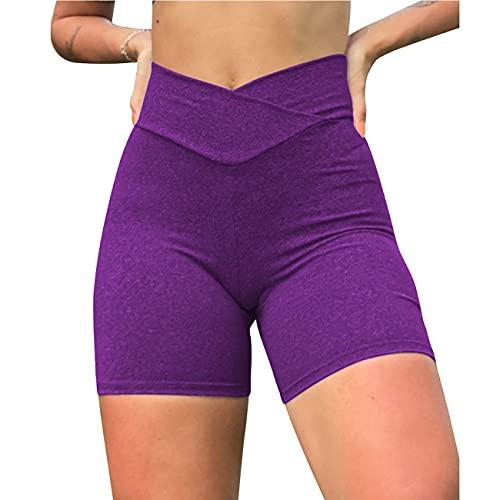 Women's High Waist Shorts Yoga Pants Cross Waist Short Scrunch Workout Gym Shorts Running Leggings Butt Lifting Hot Pants (Purple,2XL)