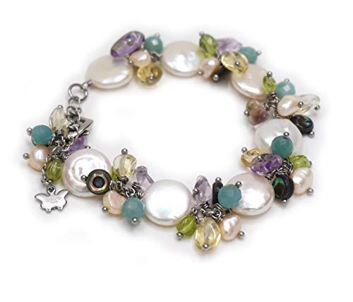 "Charmant nouveau 8 mm Multicolore Fluorite Perles Rondes Gemme Collier 20/"" Aaa"