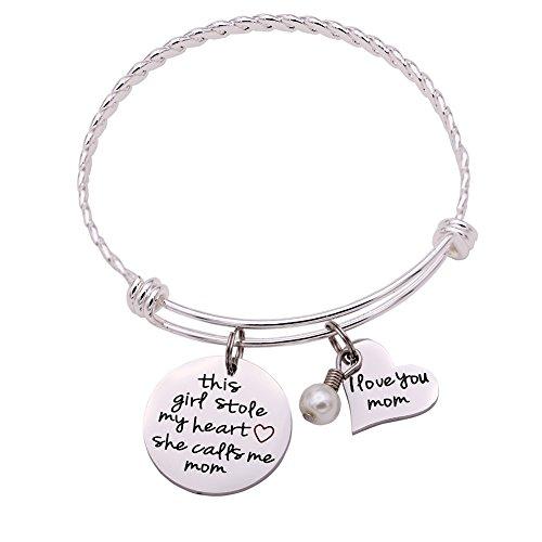 Melix HOME This Boy/Girl Stole My Heart, He/She Calls Me Mom Bracelet (Girl-Mom)