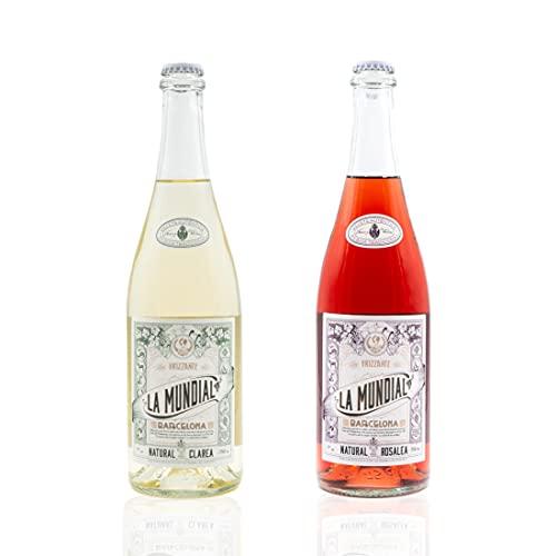 Vins&Co Barcelona La Mundial Clarea Natural y Rosalea Pack de 2 - D.O. Penedés - Vino Blanco y Rosado Frizzante espumoso - 7% alcohol – Selección Vins&Co - 750ml