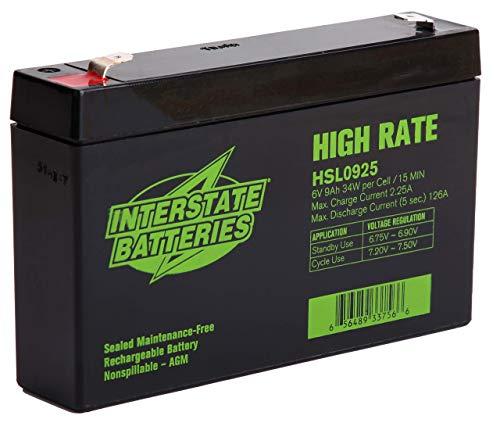 Interstate Batteries 6V 9AH High Rate, Sealed Lead Acid (AGM) SLA Battery - .250 Faston Terminals (HSL0925)