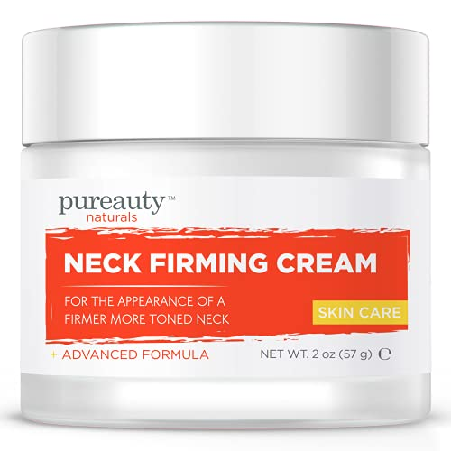 Neck Firming Cream, Anti Aging Moisturizer for Neck, Skin Tightening Cream, Anti Wrinkle Lotion, Saggy Neck Tightener & Double Chin Reducer Cream, Face Firming Neck Cream - Pureauty Naturals, 2 oz