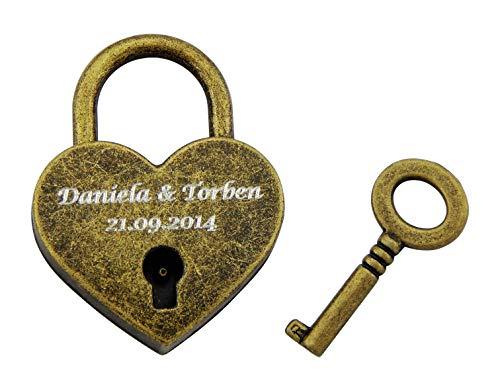 Hanessa Liebesschloss Graviertes Herz Vorhänge-Schloss mit Schlüssel mit Ihrer Gravur Hochzeitstag Jahrestag Geschenkidee Namensgravur in der Farbe Vintage Gold