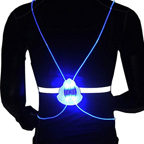 Evild LED Vest High Visibility Safety Vest Reflective Safety Gear Warning Light Illuminated Vest Running Gear for Adults(Blue)