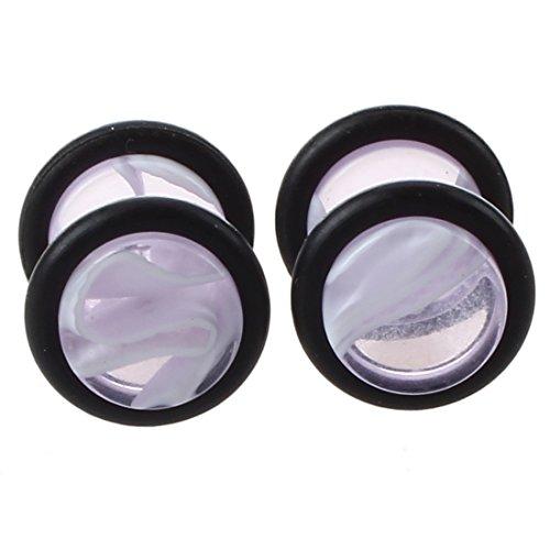 Gaetooely Pair Fake Cheater Ear Stretcher Expander 16G Stem Plug Stud Earring-Light Purple