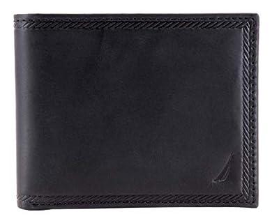 Nautica Men's Genuine Vintage Leather Credit Card ID Billfold Passcase Wallet (Black)