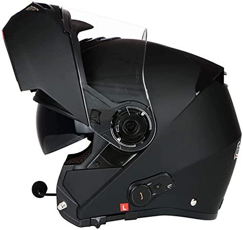 Cascos De Motocicleta Abatibles Bluetooth, Visera Completa Doble Cascos De Motocicleta Modulares Altavoz Incorporado Micrófono Auricular De Respuesta Automática Certificación ECE C,L