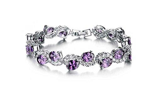 findout ladies 18k white gold plated beautiful flash diamond Bracelet ,for women girls, (f1453) (Amethyst)
