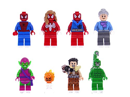 LEGO Marvel Super Heroes 7 Minifigures: Spider-Man, Spider-Girl, Scarlet Spider, Green Goblin, Scorpion, Kraven The Hunter and Aunt May.