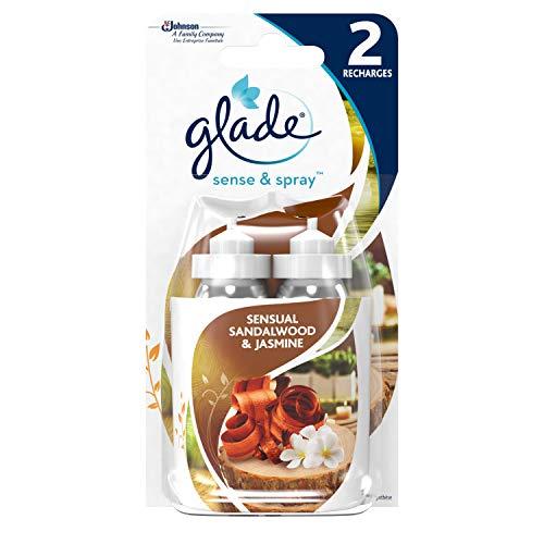 GladeSense & Spray Sensual Sandalwood & Jasmine sensualité (Senteur Santal & Jasmin de Bali), lot de 2 recharges pour diffuseur de parfum automatique, 2 recharges, 2x18 ml