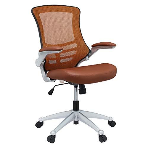 Modway Attainment Mesh Vinyl Modern Office Chair in Tan