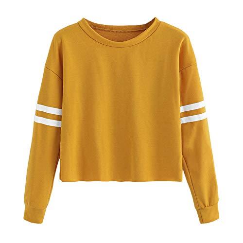 VJGOAL para Mujer de Moda Casual otoño Manga Larga de Color sólido Raya de impresión Cuello Redondo Sudadera Blusa Tops Pullover(S,Amarillo)