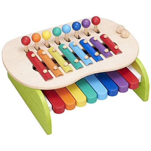 ぼん家具 木のおもちゃ 鍵盤 シロフォン 鉄琴 バチ 2本付 天然木 キッズ 音楽 1.5歳から