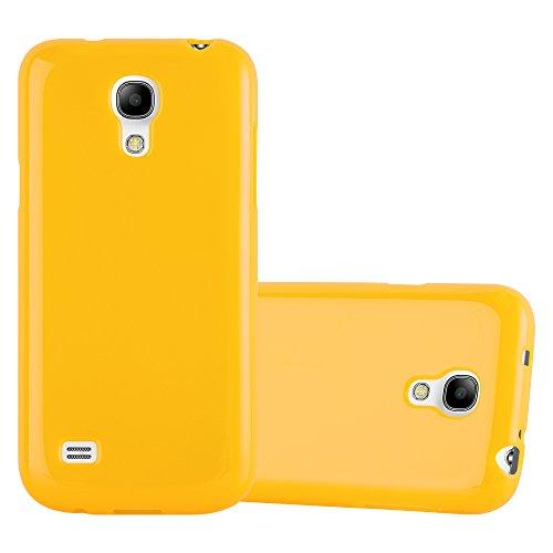 Cadorabo Custodia per Samsung Galaxy S4 Mini in Jelly Giallo - Morbida Cover Protettiva Sottile di Silicone TPU con Bordo Protezione - Ultra Slim Case Antiurto Gel Back Bumper Guscio