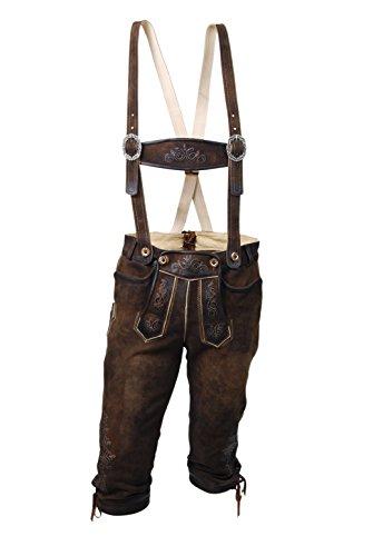 MADDOX Echte Kniebundlederhose, Knickerbocker, braune Herren Lederhose, Ziegenleder, nuss antik (52, braun)