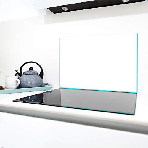TMK - Tabla de cristal para cubrir los fogones, 80 x 52 cm, 1 pieza, cubierta de vitrocerámica de inducción, protección contra salpicaduras, placa de cristal decorativa, tabla de cortar, color blanco