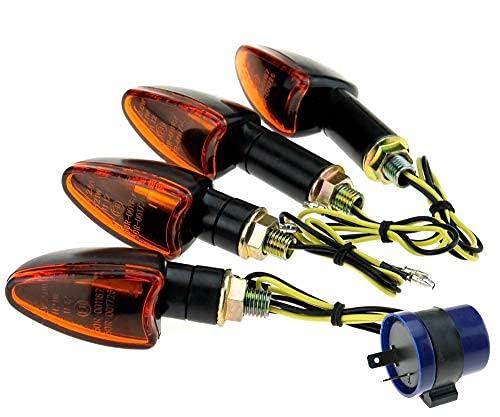 4 x frecce per moto con gambo corto e lungo, color ambra + relè anteriore e posteriore + 4 lampadine
