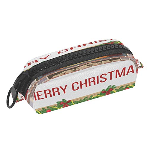 Christmas Scene Fireplace Pattern Pen Case Pencil Bag, Storage Pens Pouch Bag for Student Office College Middle School High School