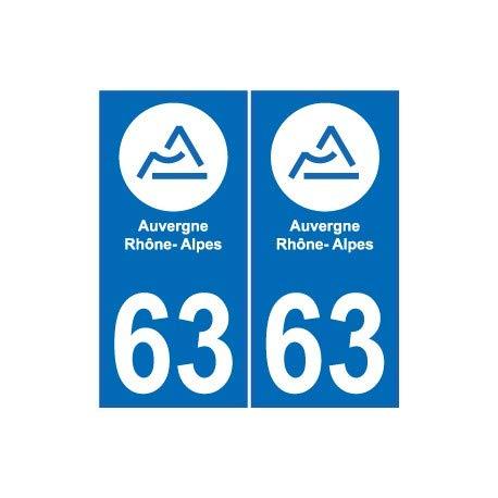 Bearn 63 PUY-De-Dome stickers voor nummerplaat, zelfklevend, 802.ment Auvergne-Rhône-Alpes logo 63, hoeken: rechts, achtergrondkleur: wit