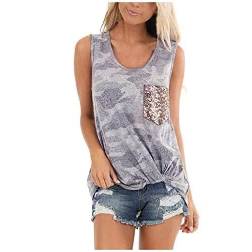 Amphia T Shirt Damen Sommer Bluse Tank Top, Ärmelloses Paillettentaschen-Frontknoten-Tarnmuster-Trägershirt für Damenmode - für Eignung, Yoga, Training, Übung.