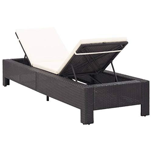 Sdraio con chaise longue in rattan, lettino da giardino con cuscino, schienale regolabile, per esterno interno, 220 x 75 x 35 cm, nero + bianco