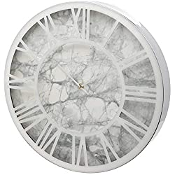 Unity Silver Metal Roman Numeral 40cm Wall Clock with Grey Marble Face
